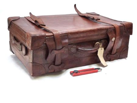 Hollywood Props & Sales  Props  Luggage Bags & Trunks  Vintage Leather  Suitcase